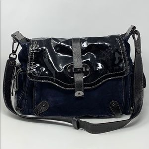 Rafe Navy Blue Suede Leather Large Satchel Purse